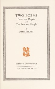 Cover of: Two poems: From the cupola and The summer people