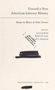 Cover of: Toward a new American literary history