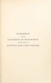 Cover of: A descriptive catalogue of the manuscripts in the library of Gonville and Caius College