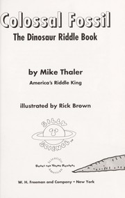 Cover of: Colossal Fossil: The Dinosaur Riddle Book (Riddle Books)