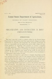 Cover of: Organization and instruction in boys