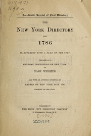 Cover of: The New York directory for 1786, illustrated with a plan of the city
