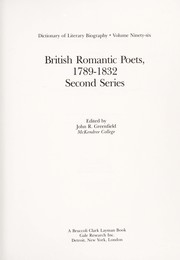 Cover of: British Romantic Poets, 1789-1832, 2nd Series | John R. Greenfield