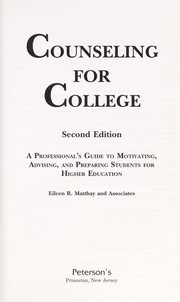 Cover of: Counseling for college