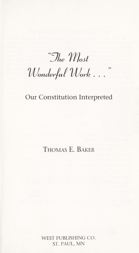 The most wonderful work-- by Baker, Thomas E.