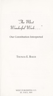 Cover of: The most wonderful work-- | Baker, Thomas E.