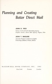Cover of: Planning and creating better direct mail