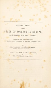 Cover of: Observations on the state of zoology in Europe, as regards the vertebrata