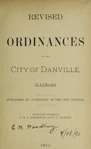 Cover of: Revised ordinances of the City of Danville, Illinois | Danville (Ill.)