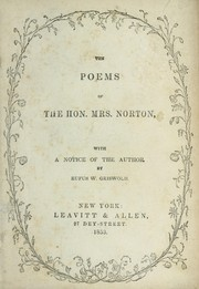 Cover of: The poems of the Hon. Mrs. Norton