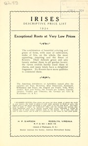 Cover of: Descriptive price list [of] irises | H.P. Simpson (Firm)