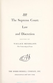 Cover of: The Supreme Court: law and discretion