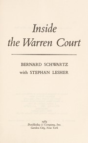 Cover of: Inside the Warren court