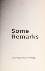 Cover of: Some remarks