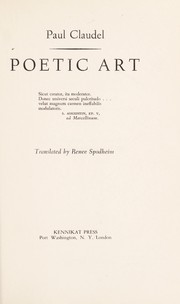 Cover of: Poetic art: Translated by Renee Spodheim.