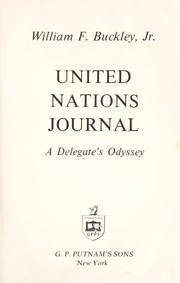 Cover of: United Nations journal: a delegate's odyssey.