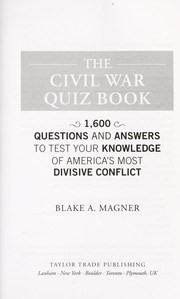 Cover of: The Civil War quiz book | Blake A. Magner