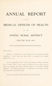 Cover of: [Report 1915] | Epping (England). Rural District Council
