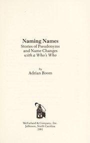 Cover of: Naming names: stories of pseudonyms and name changes with a who's who