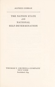 Cover of: The nation state and national self-determination