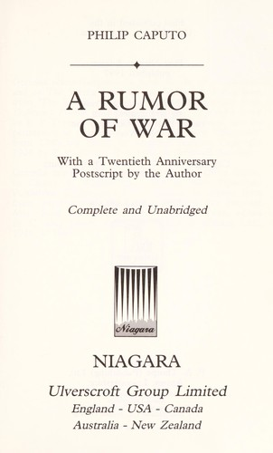 A rumor of war : with a twentieth anniversary postscript by the author by