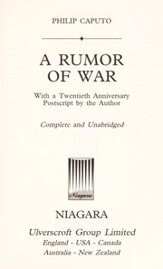 Cover of: A rumor of war : with a twentieth anniversary postscript by the author |