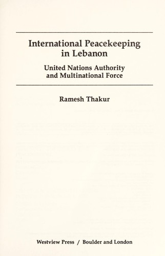 International peacekeeping in Lebanon (1987 edition) | Open Library