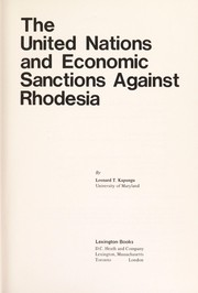 Cover of: The United Nations and economic sanctions against Rhodesia