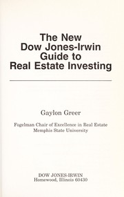 Cover of: The new Dow Jones-Irwin guide to real estate investing