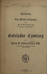Cover of: A dictionary of the Welsh language | D. Silvan Evans