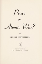 Cover of: Peace or atomic war?