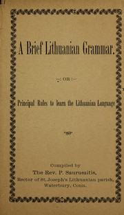 Cover of: A brief Lithuanian grammar