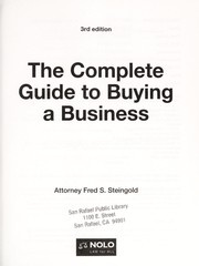 Cover of: The complete guide to buying a business | Fred Steingold