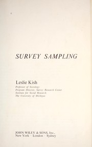 Cover of: Survey sampling