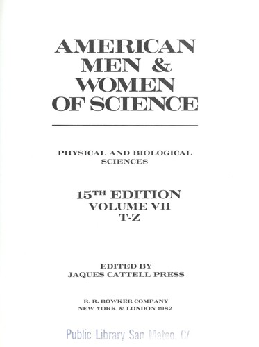 American Men and Women of Science by Jaques Cattell