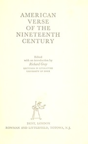 Cover of: American verse of the nineteenth century | Richard J. Gray