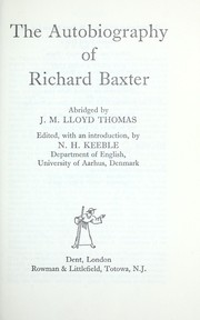 Cover of: The autobiography of Richard Baxter