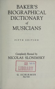 Cover of: Baker's biographical dictionary of musicians