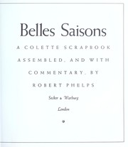 Cover of: Belles saisons | Robert Phelps