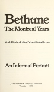 Cover of: Bethune | Wendell MacLeod