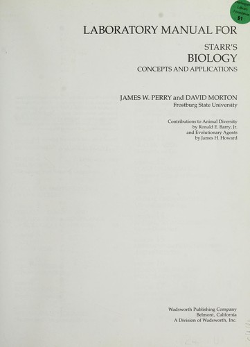 Laboratory manual for Starr's Biology, concepts and applications by Perry, James W.