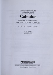 Cover of: Student solutions manual for Calculus for the managerial, life, and social sciences, fifth edition | Soo Tang Tan