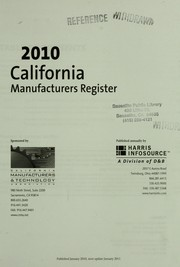 Cover of: 2010 California manufacturers register | Harris InfoSource (Firm)