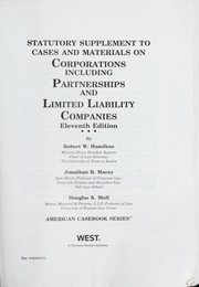 Cover of: Statutory supplement to Cases and materials on corporations, including partnerships and limited liability companies, eleventh edition | Robert W. Hamilton