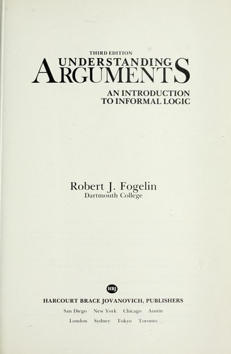 Understanding arguments : an introduction to informal logic by