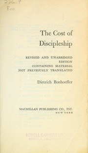 Cover of: The Cost of Discipleship | Dietrich Bonhoeffer