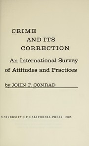 Cover of: Crime and its correction | John Phillips Conrad