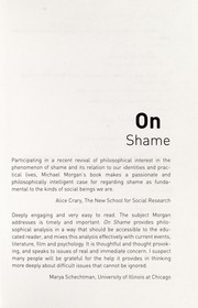 Cover of: On Shame (Thinking in Action) | Michael Morgan