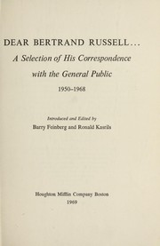 Cover of: Dear Bertrand Russell ... a selection of his correspondence with the general public, 1950-1968