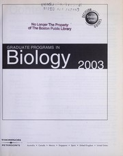 Cover of: Graduate programs in biology : 2003 |